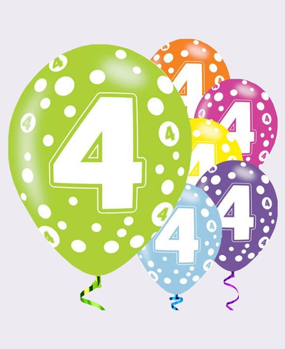 4th Birthday Balloons Assorted