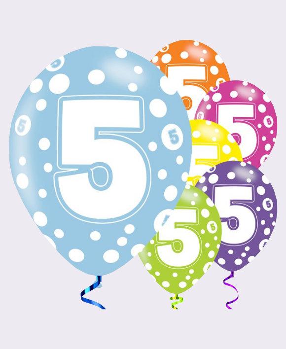 5th Birthday Balloons Assorted